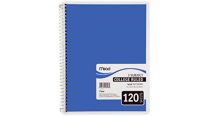 Mead® Spiral® 3 Subject Notebook, 120 College Ruled Pages
