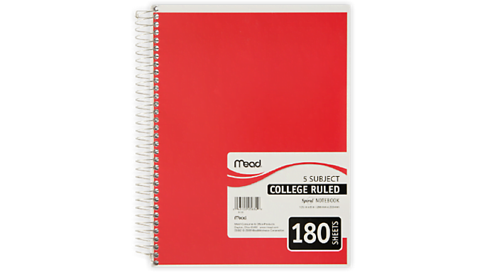Mead Spiral 5 Subject Notebook, 180 College Ruled Pages - Case of 12